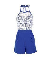 Boohoo - Blue Abrielle Crochet High Neck Playsuit - Lyst