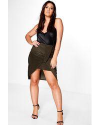 417750c601 Lyst - Boohoo Plus Ivy Asymmetric Ruched Detail Mini Skirt