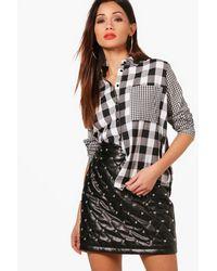 Boohoo - Black Petite Contrast Check Oversized Shirt - Lyst