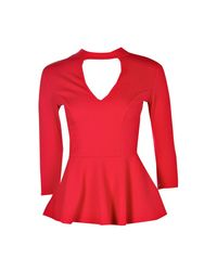 Boohoo - Red Anna Extreme Plunge Choker Peplum - Lyst