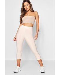 Boohoo - Natural Petite Slinky High Waisted &; Legging - Lyst