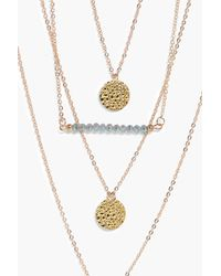 Boohoo - Metallic Alex Bead Triple Coin Layered Necklace - Lyst