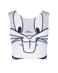 Boohoo - Gray Bugs Bunny Crop Top - Lyst