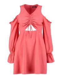 Boohoo - Pink Ruched Cold Shoulder Skater Dress - Lyst