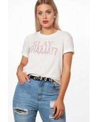 Boohoo - White Plus Kate Slay With Rhinestone T Shirt - Lyst