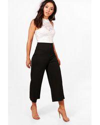 Boohoo - Black Eliza Monochrome Lace Culotte Jumpsuit - Lyst