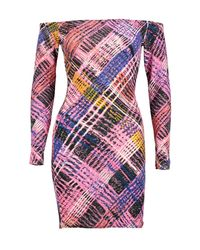 Boohoo - Purple Anna Off Shoulder Bodycon Dress - Lyst