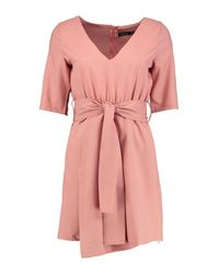 Boohoo | Pink Caoimhe Plunge Wrap Shift Dress | Lyst