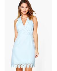 Boohoo - Blue Boutique Vi Crochet Hem Tuxedo Midi Dress - Lyst