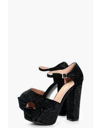 Boohoo - Black Mia Embossed Velvet Platform Heels - Lyst