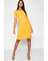 44a47e192cb8 Boohoo Frill Hem Midi Dress in Yellow - Lyst