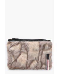 Boohoo - Natural Feliciity Multi Faux Fur Clutch - Lyst
