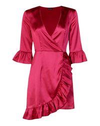 Boohoo - Red Satin Frill Deatil Wrap Dress - Lyst