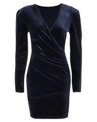 Boohoo - Blue Petite Tilly Velvet Wrap Front Long Sleeve Dress - Lyst
