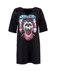 Boohoo   Black Lia Slogan Pin Detail Choker T-shirt Dress   Lyst
