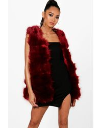 Boohoo Red Faux Fur Gilet