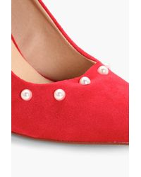 Boohoo | Red Rose Pearl Trim Court Shoes | Lyst