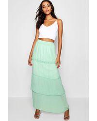 4655a4deb Boohoo Pleated & Tiered Chiffon Maxi Skirt in Green - Lyst
