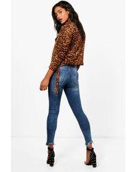 Boohoo - Blue Raw Hem 5 Pocket Skinny Jeans - Lyst