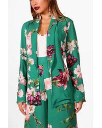 Boohoo - Green Lana Oriental Belted Woven Blazer - Lyst