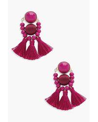 Boohoo - Pink Morgan Bead And Tassel Statement Earrings - Lyst