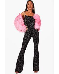 Boohoo - Black Cat Square Neck Heart Print Jumpsuit - Lyst