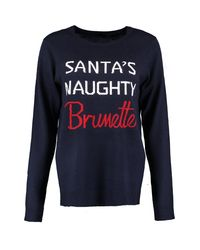 Boohoo - Blue Abi Santa's Naughty Brunette Christmas Jumper - Lyst