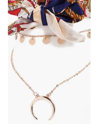 Boohoo - Blue Hollie Scarf Tie Annd Layered Chain Choker - Lyst