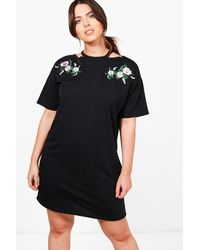 Boohoo | Black Plus Fiona Floral Embroidered Sweat Dress | Lyst