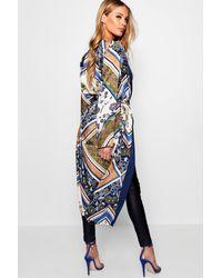 Boohoo - Blue Jessica Border Scarf Print Asymmetric Kimono - Lyst