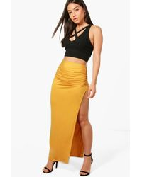Boohoo - Multicolor Evelyn Rouched Side Split Jersey Maxi Skirt - Lyst