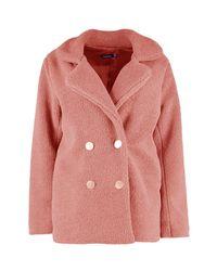 Boohoo - Pink Lauren Double Breasted Faux Fur Teddy Coat - Lyst