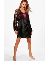 de25f86f5a Lyst - Boohoo Summer Bridal Lace Short Satin Night Robe in Black