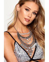 Boohoo - Metallic Boutique Statement Diamante Necklace - Lyst