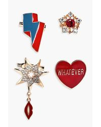 Boohoo - Metallic Missy Heart And Military Inspired Badges - Lyst