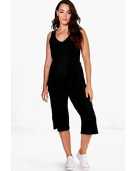 e571620d492 Lyst - Boohoo Plus Gracie Ribbed Belted Jumpsuit in Black