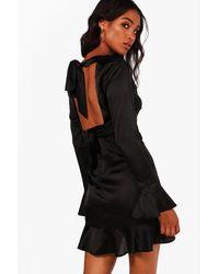 Boohoo - Black Serena Satin Open Back Skater Dress - Lyst