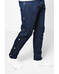 Boohoo - Blue Slim Fit Joggers With Poppers for Men - Lyst