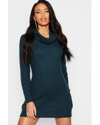 41f411a44a7 Lyst - Boohoo Oversized Soft Knit Cowl Neck Jumper Dress in Blue