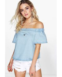 Boohoo - Blue Off The Shoulder Denim Top - Lyst