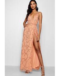 Boohoo - Orange Tall Boutique Wrap Sequin Maxi Dress - Lyst