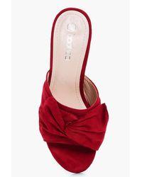 Boohoo - Red Ebony Bow Trim Mule Heel - Lyst