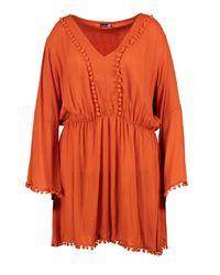 Boohoo - Orange Plus Casey Pom Pom Plunge Skater Dress - Lyst