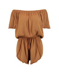 Boohoo - Brown Crochet Trim Off The Shoulder Playsuit - Lyst