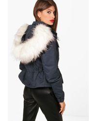Boohoo - Blue Arabella Short Parka With Faux Fur Trim - Lyst