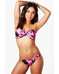 Boohoo - Pink Peru Neon Palm Twist Bandeau Bikini - Lyst
