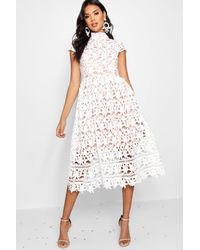 d3df950b54 Boohoo Boutique Lace High Neck Skater Dress in White - Lyst