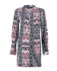 Boohoo - Multicolor Lilibeth Monochrome Paisley Wrap Dress - Lyst