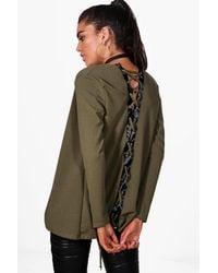 Boohoo - Green Julia Lace Up Back Blazer - Lyst