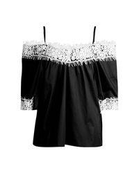 Boohoo - Black Faye Woven Crochet Cold Shoulder Top - Lyst